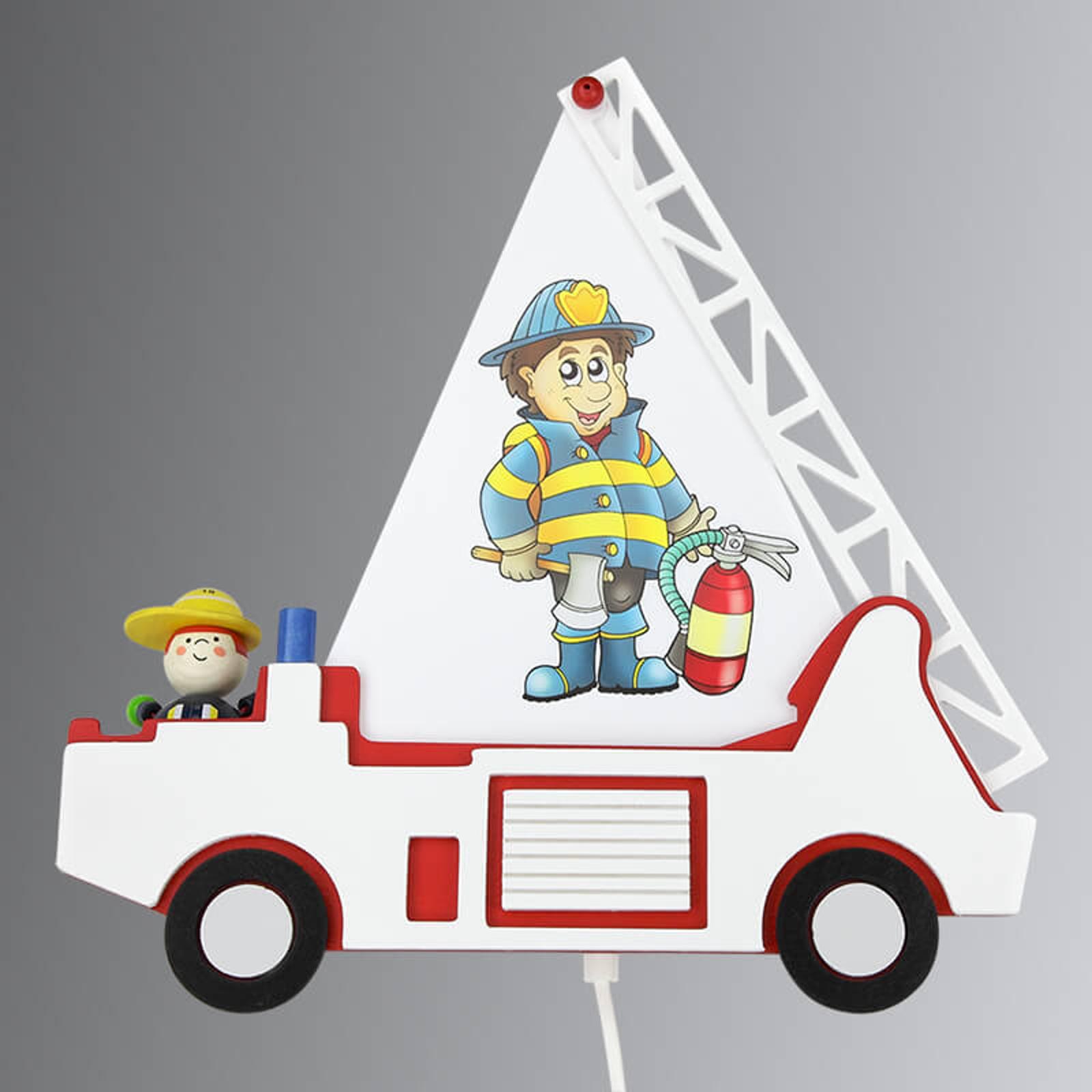 Dziecięca lampa ścienna Wóz strażacki Fred