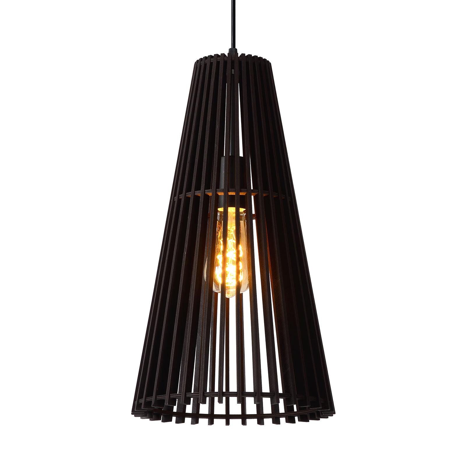 Lampa wisząca Noralie, klosz z drewnianych lamel