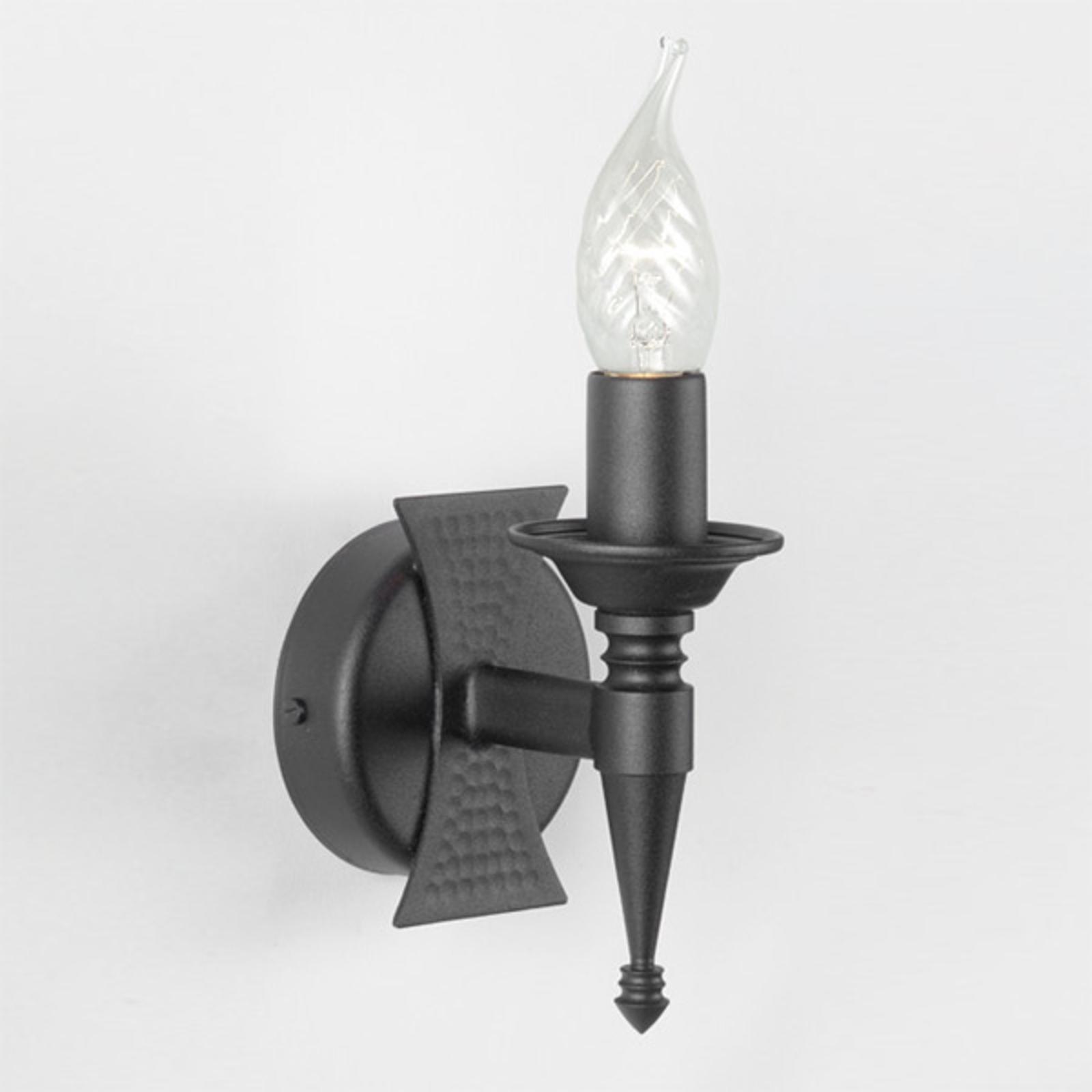 Middeleeuwse wandlamp SAXON, 1-lichts, zwart