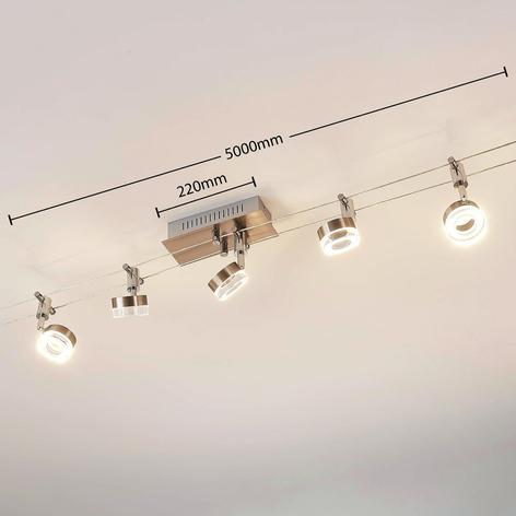Iluminación LED sobre cable Valeska, 5 brazos