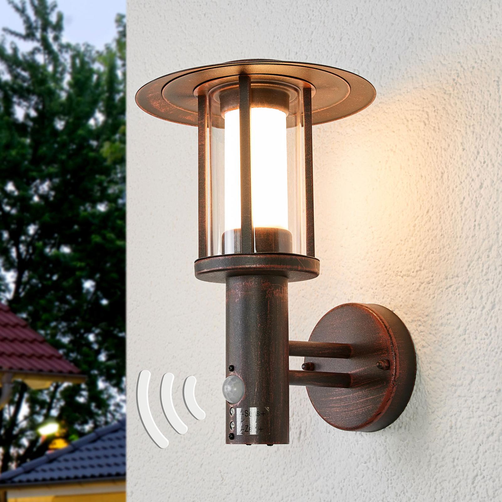 Utendørs vegglampe Pavlos med sensor og LED