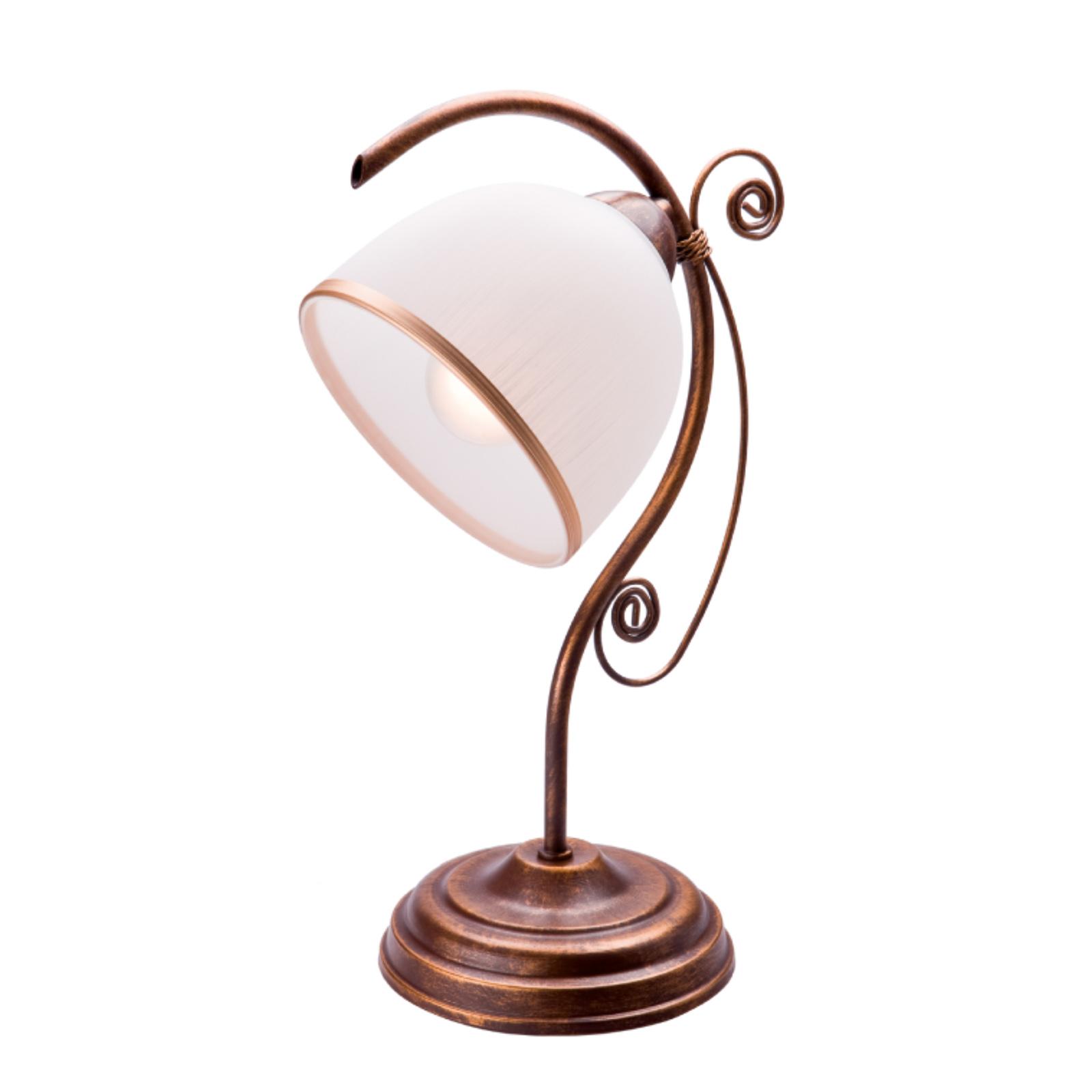 Lampa stołowa Roma biała i brązowa
