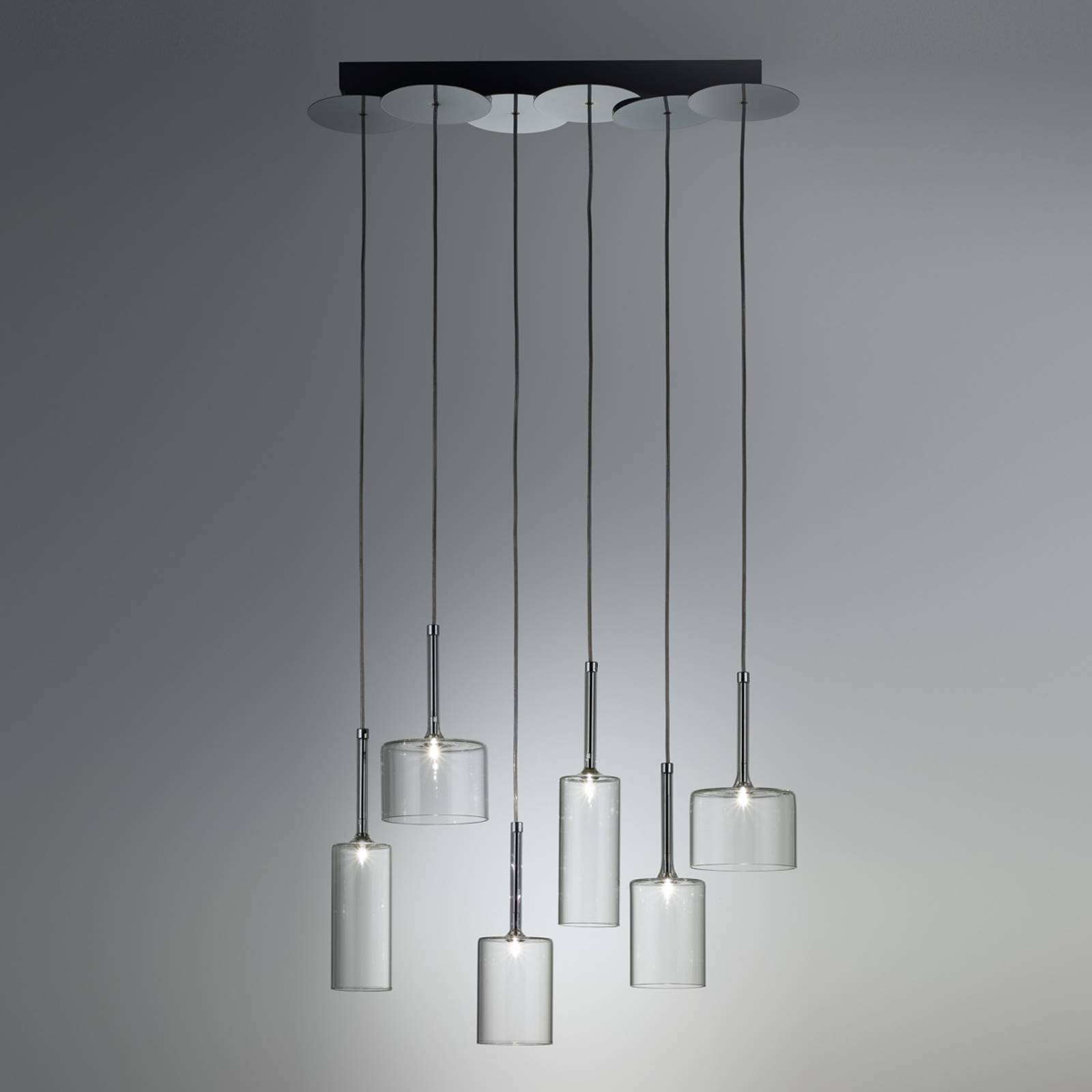 Glazen hanglamp Spillray met zes lampjes