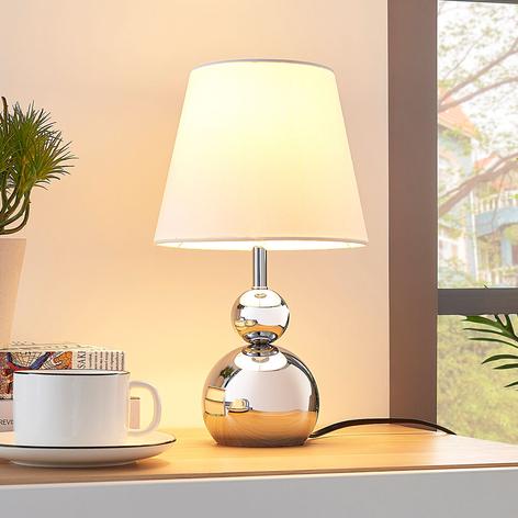 Bílá textilní stolní lampa Andor, chromovaná