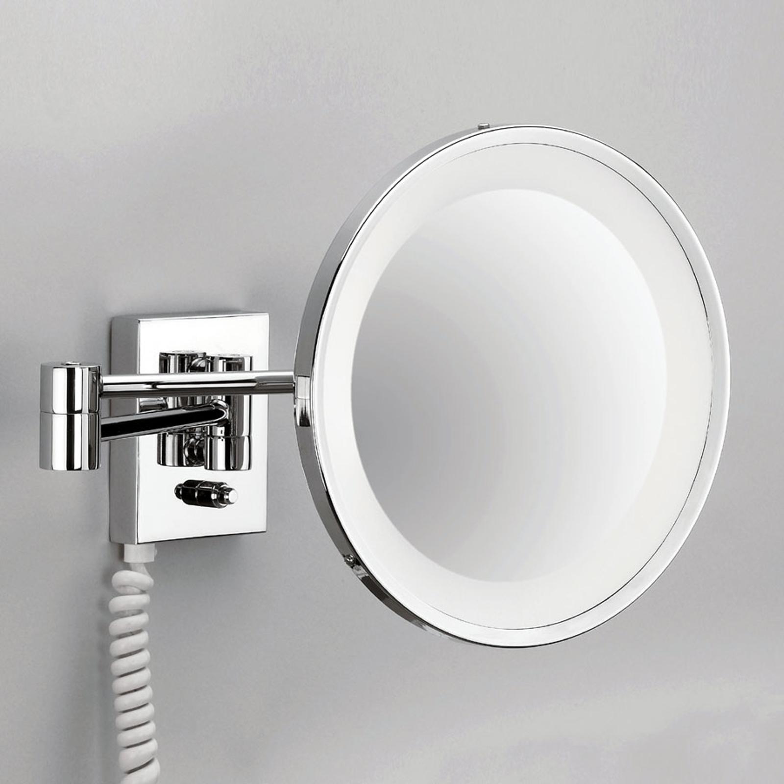 Förkromad väggsminkspegel POINT med belysning