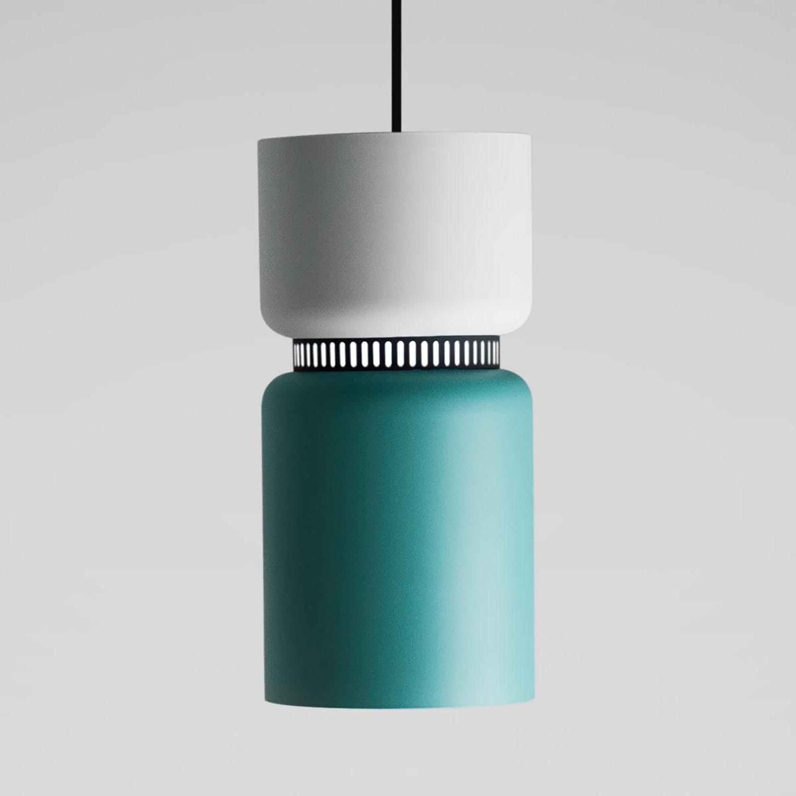 LED-pendellampe Aspen S hvit-turkis 17 cm kort