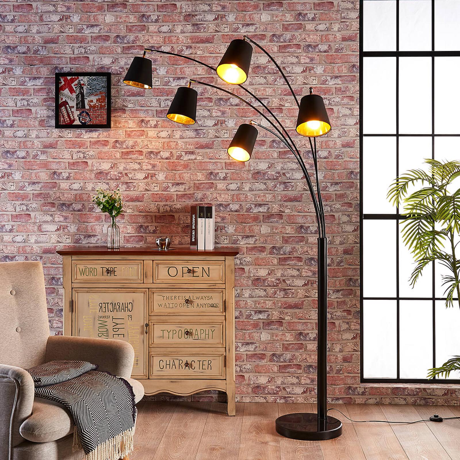 5-punktowa lampa stojąca Tinne, z tkaniny