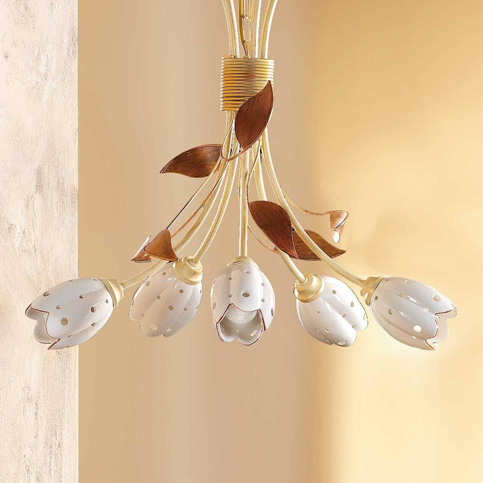 5-lichts bloemvormige hanglamp TULIPANO