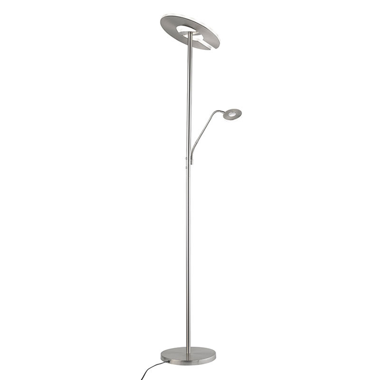 Lampadaire indirect LED Dent liseuse, CCT, nickel