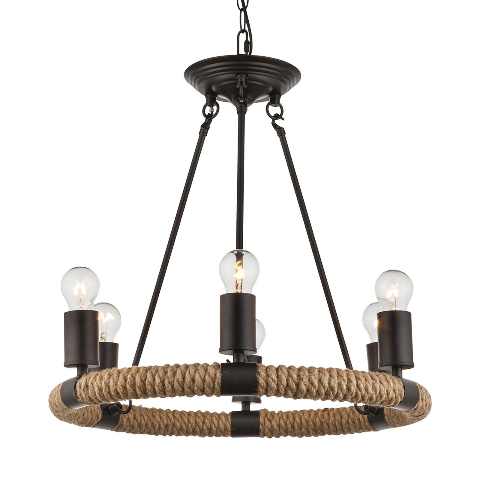 Pyöreä LED-riippuvalaisin Ulleu 6-lamppuinen