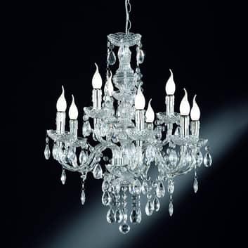 Lámpara de araña Perdita, 9 luces, aspecto cromo