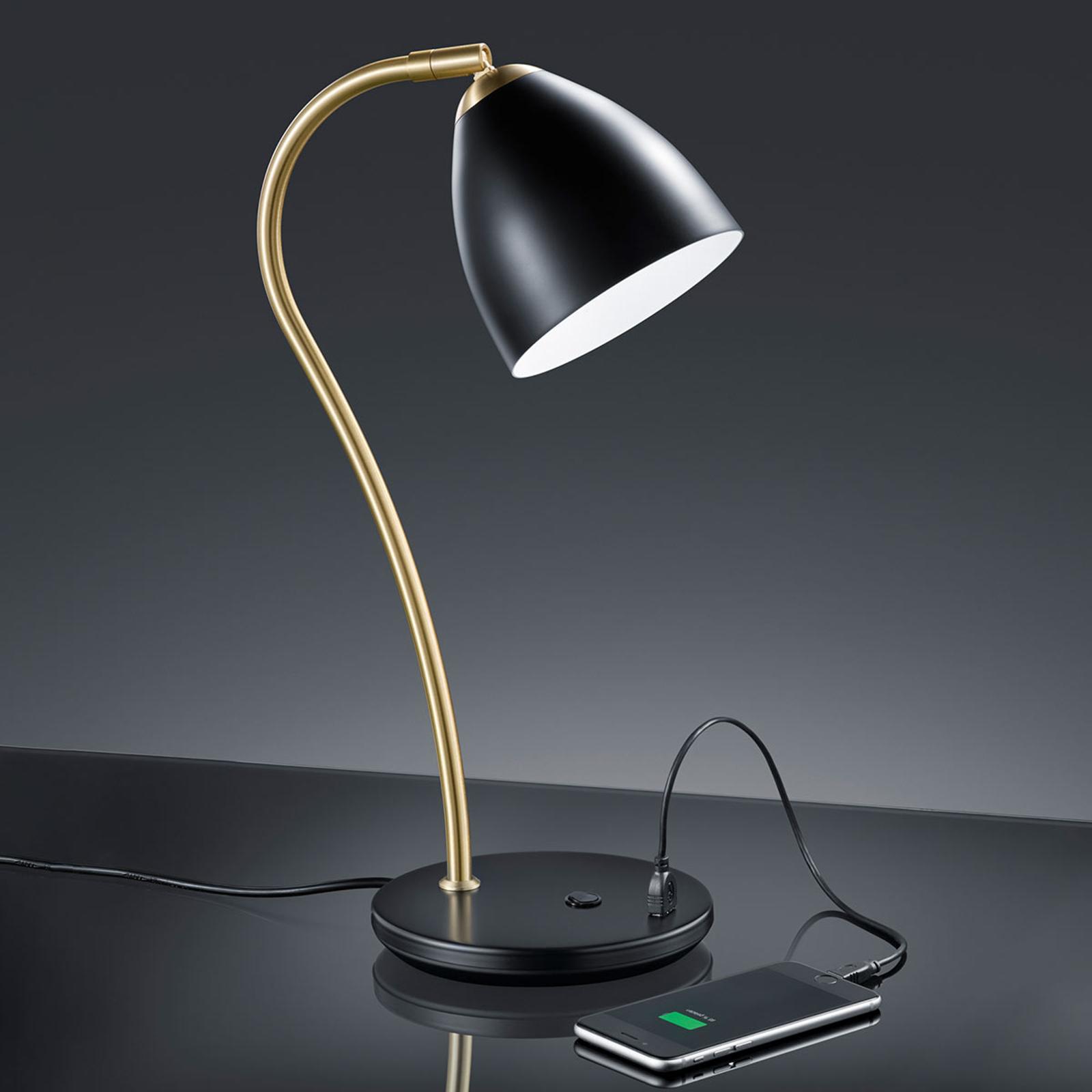 Baulmann 14.249 Tischlampe mit USB-Port schwarz