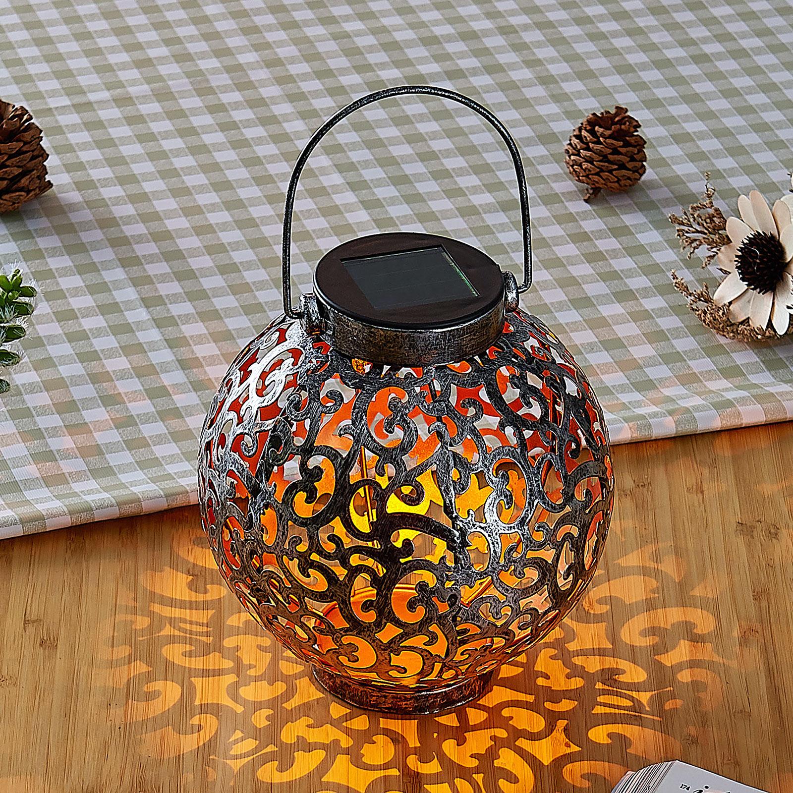 Adriano LED solar lantern, ornamentation, silver_9945357_1