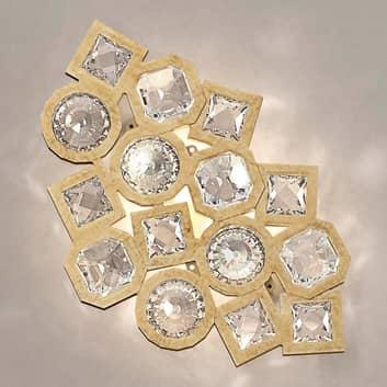 Stardust golden LED-væglampe i funklende krystal