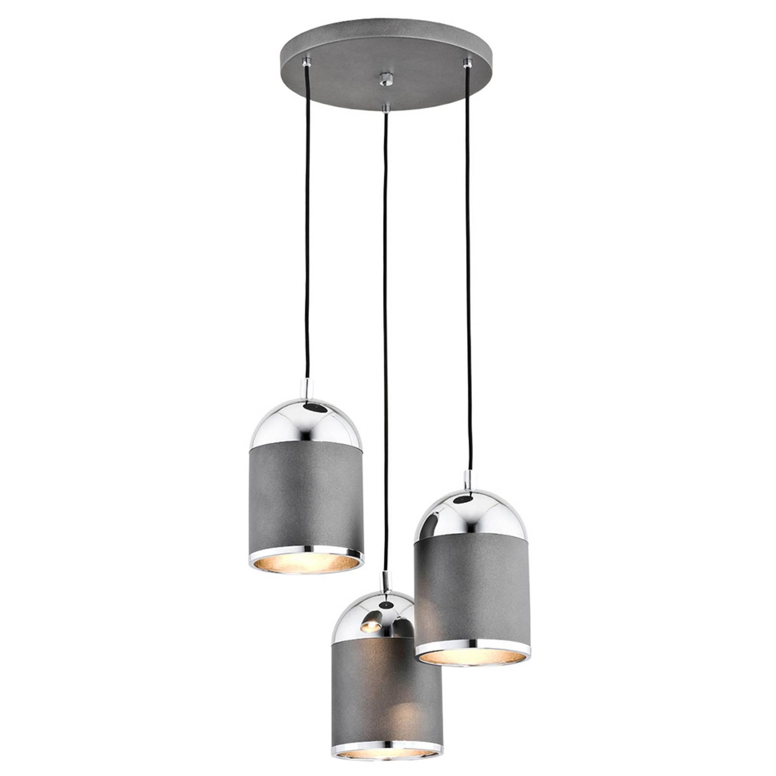 Suspension Anadia, 3 lampes, ronde, anthracite