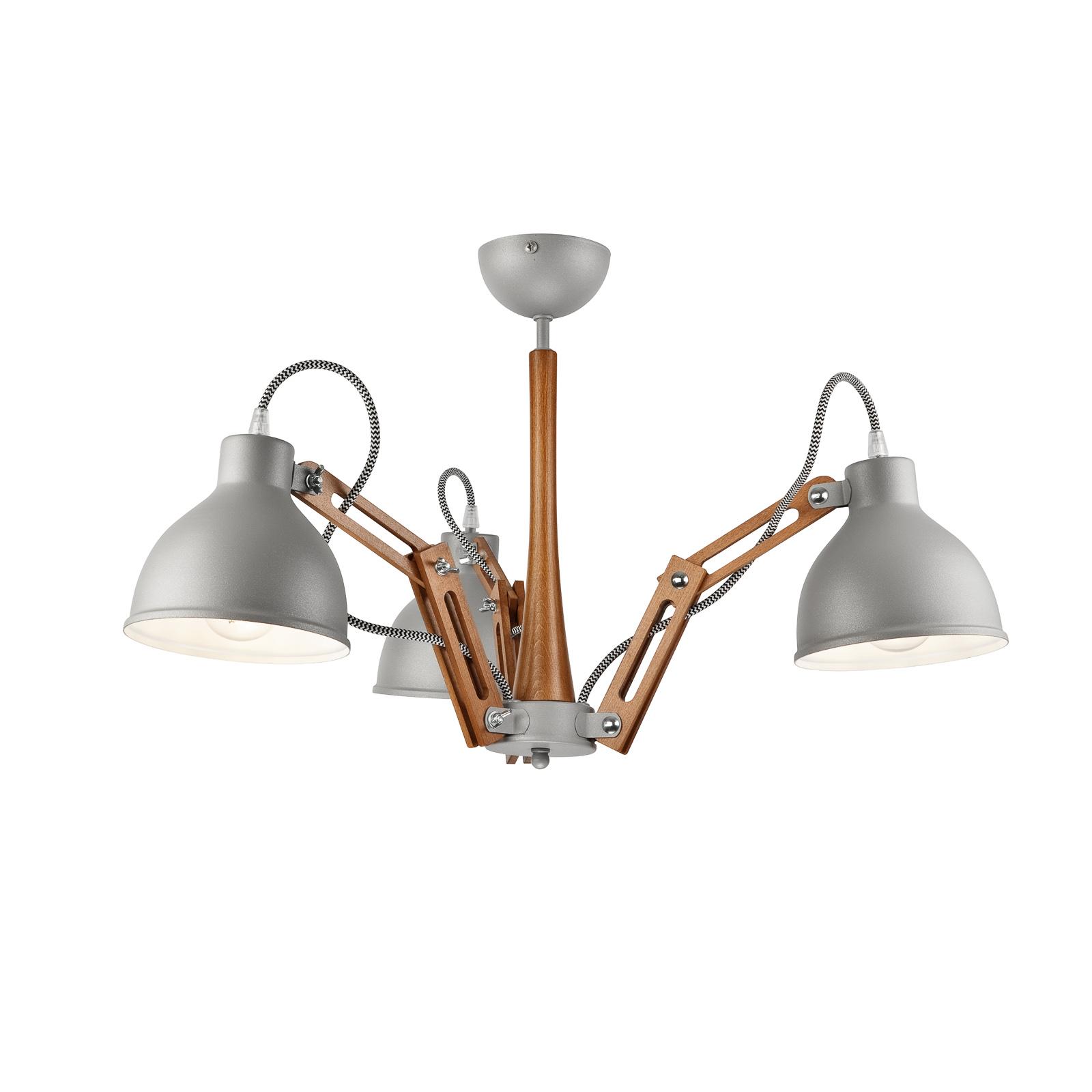 Skansen loftlampe, 3 lyskilder, justerbar, grå