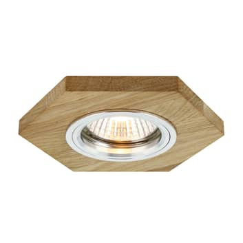 Spot wpuszczany LED Sirion, sześciokąt, dąb