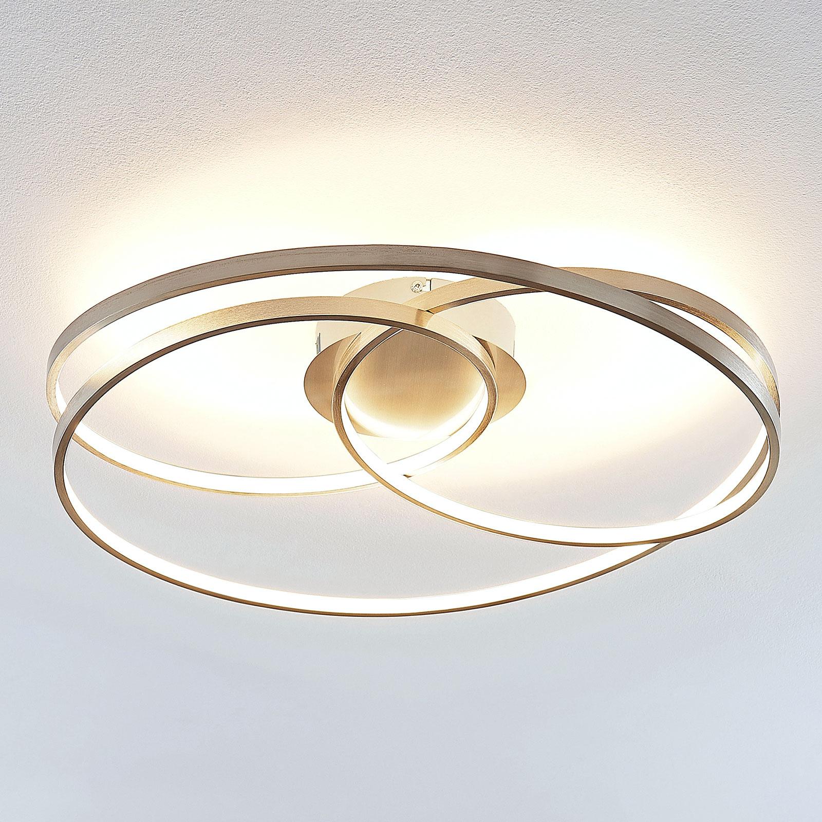 Lindby Ronka LED-kattovalaisin, satinoitu nikkeli