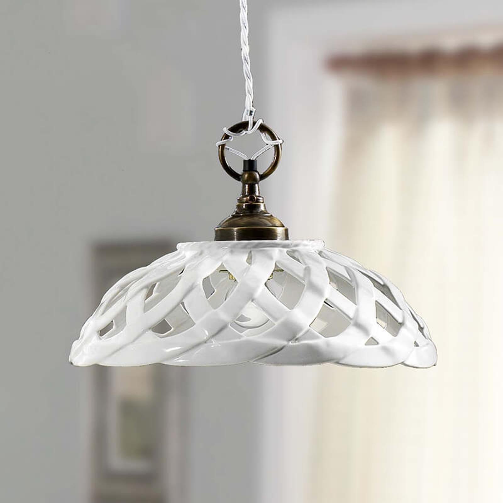 Biała ceramiczna lampa wisząca Emanuel, Ø 32 cm