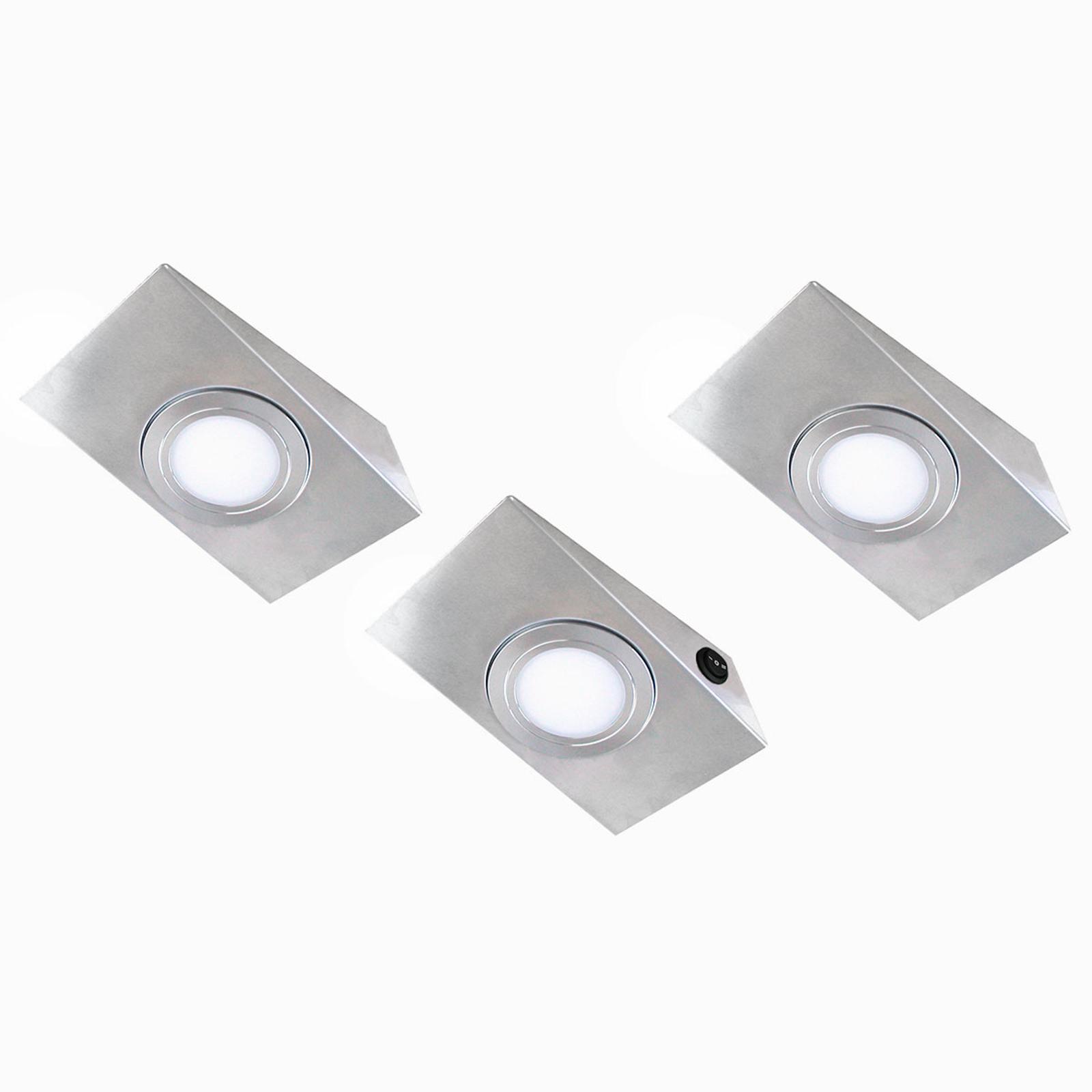 Keili LED-underskabslys, sæt m. 3, 2-trins kontakt