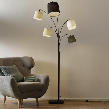By Rydéns Foggy lampa podłogowa, 5 kloszy, czarna