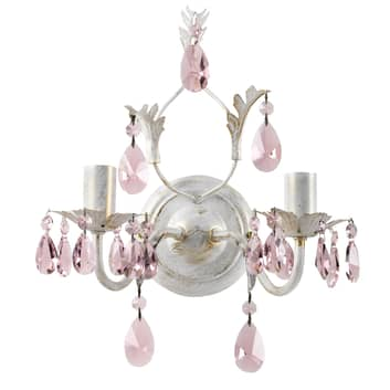 Aplique Kate, 2 luces, blanco, cristales rosas