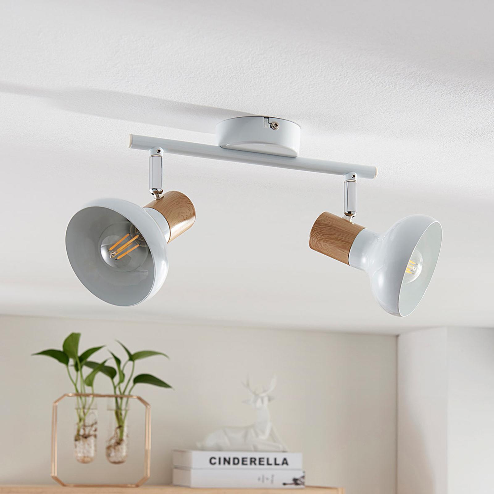 Plafonnier Fridolin à 2 lampes, métal blanc
