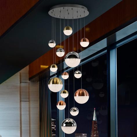 Lámpara colgante LED Sphere, multicolor, 14 luces