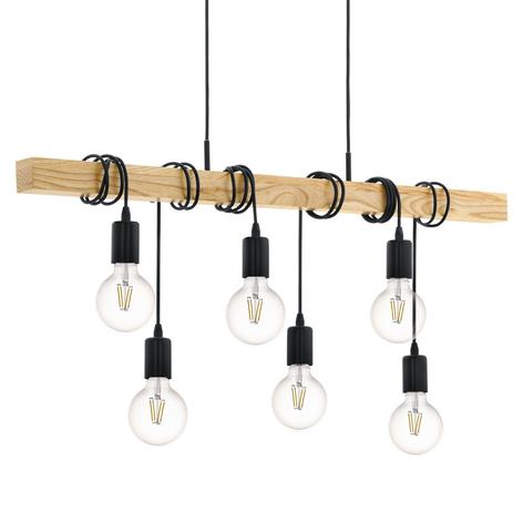 Hanglamp Townshend met hout 6-lamps