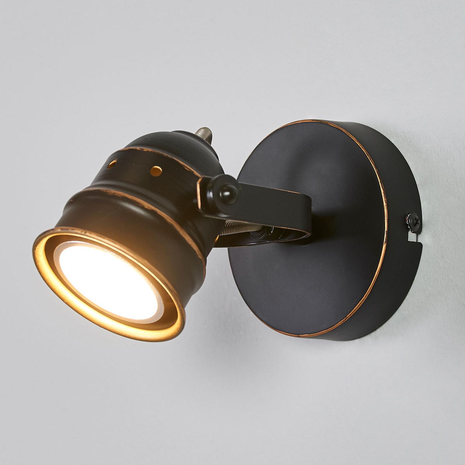 Svart-gyllene GU10-spotlight Leonor, LED