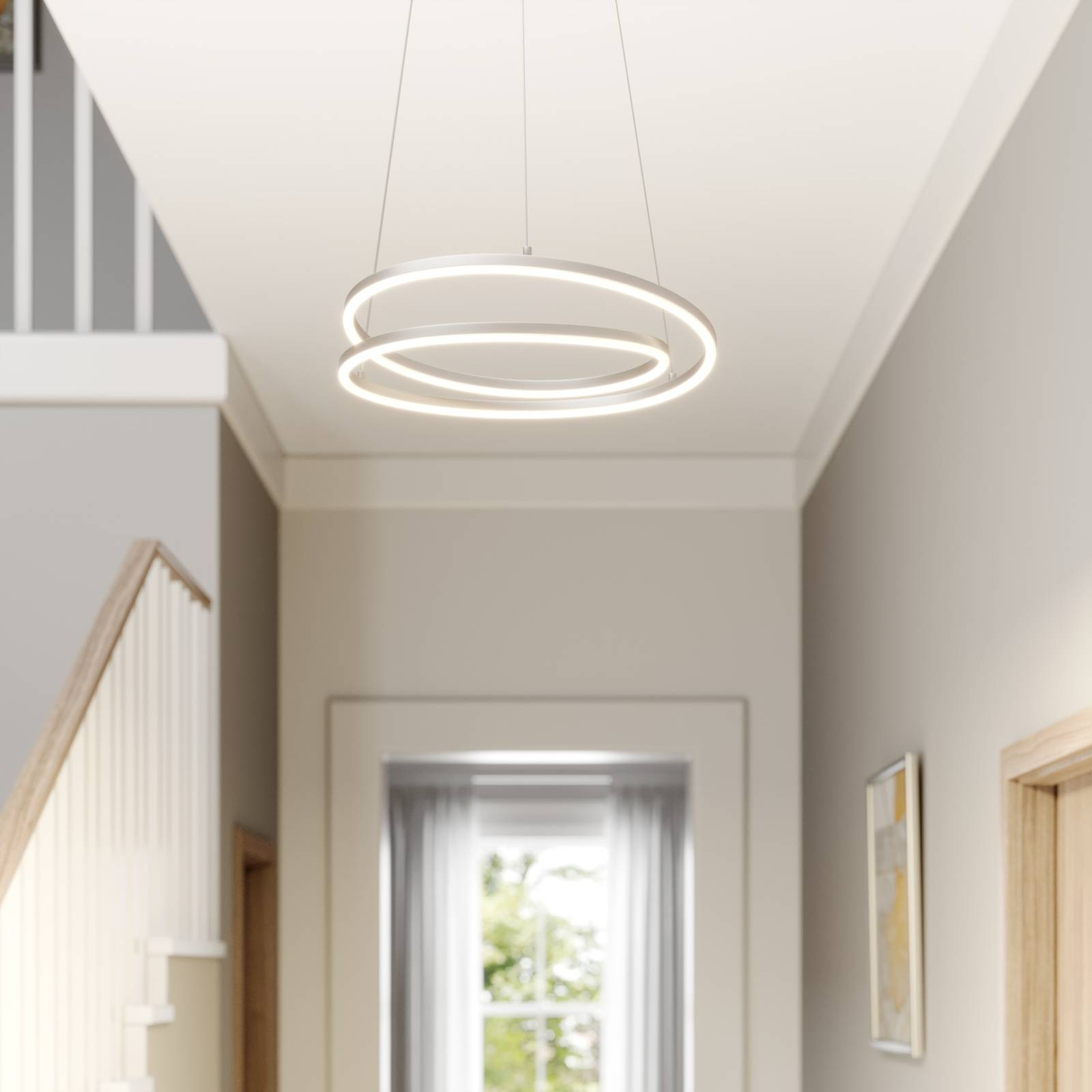 Lindby Davian suspension LED, dimmable, nickel