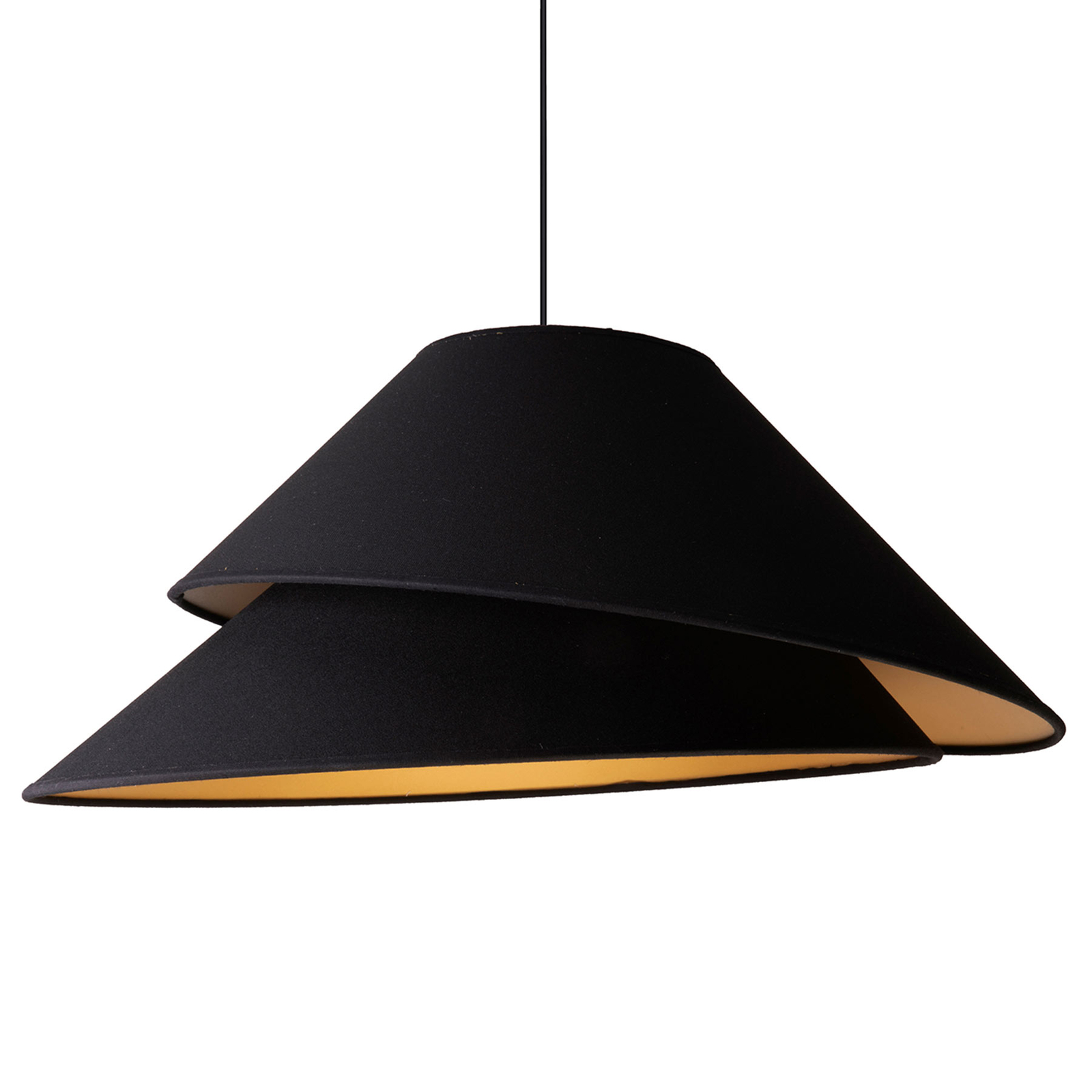 Tekstylna lampa wisząca Coco, czarna