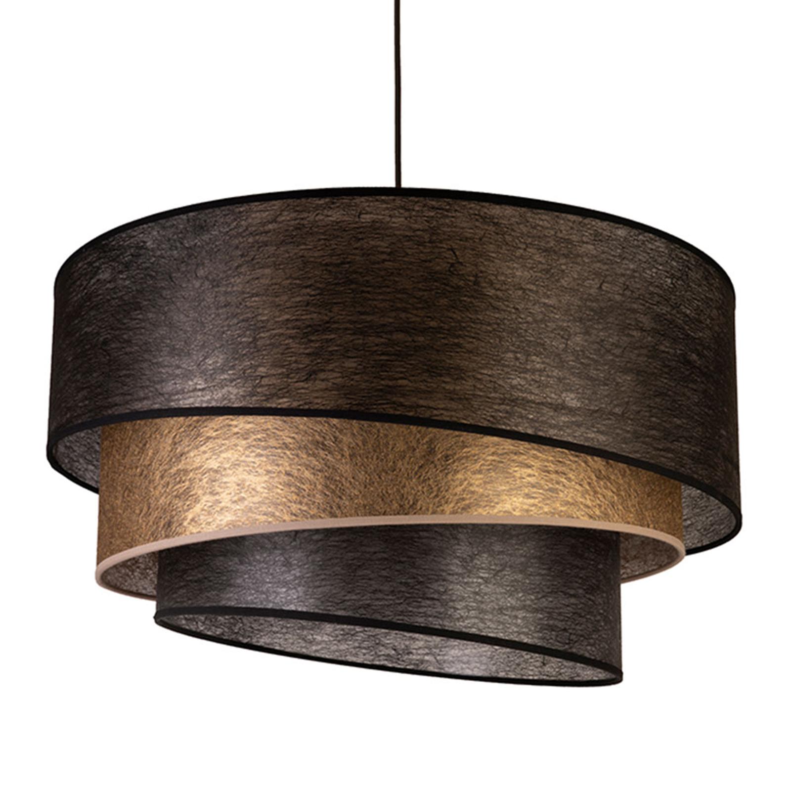 Textiel-hanglamp Trio, zwart/goud