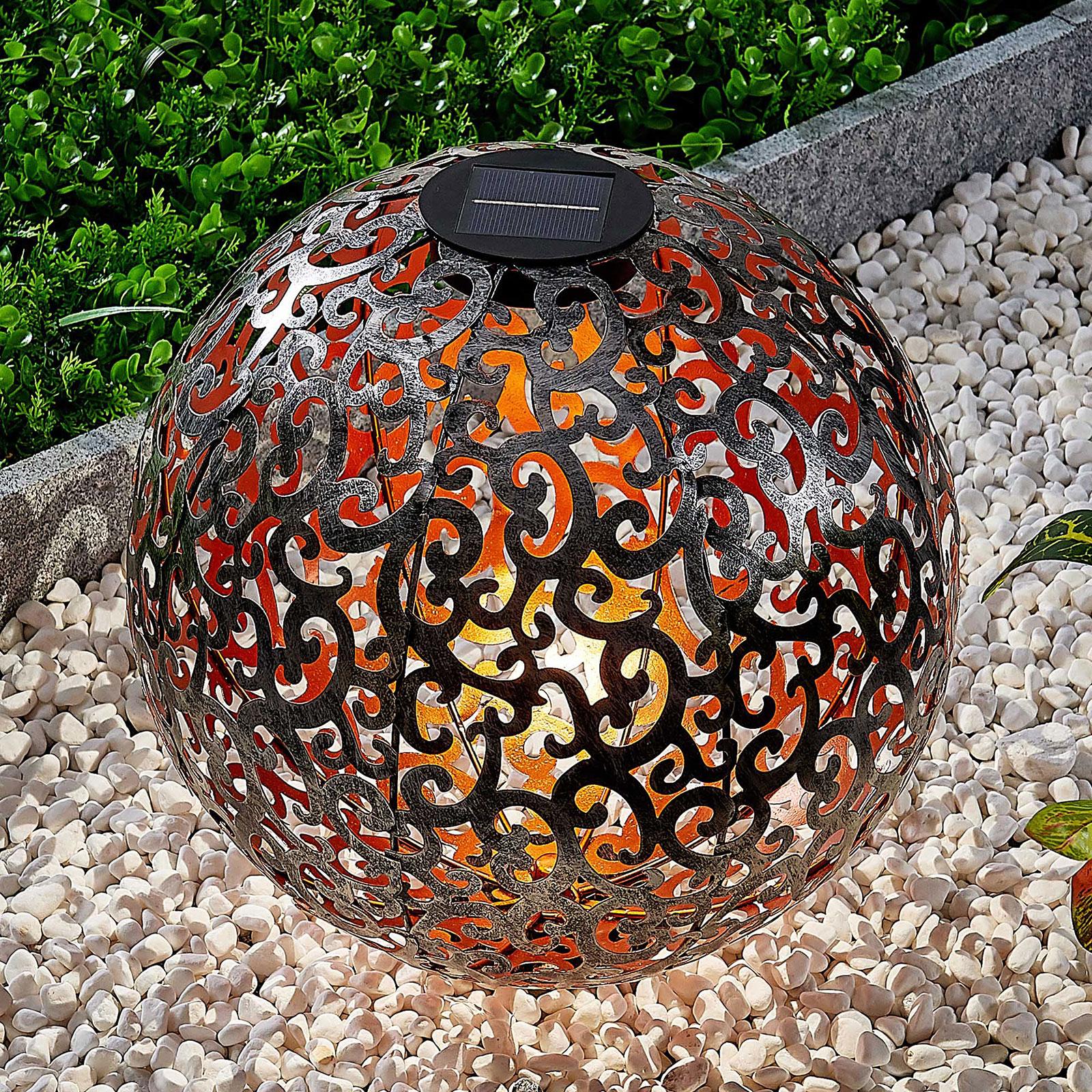 Ornament-LED-solarlampa Eduta, kula, silver-guld