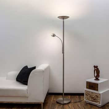 Malea lampadaire indirect LED avec liseuse, nickel