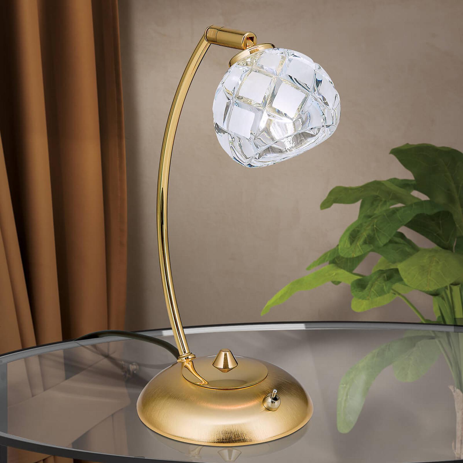 Lampe à poser cristal de plomb Maderno, dorée