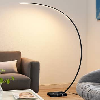 Lindby Kendra LED boogvloerlamp, zwart