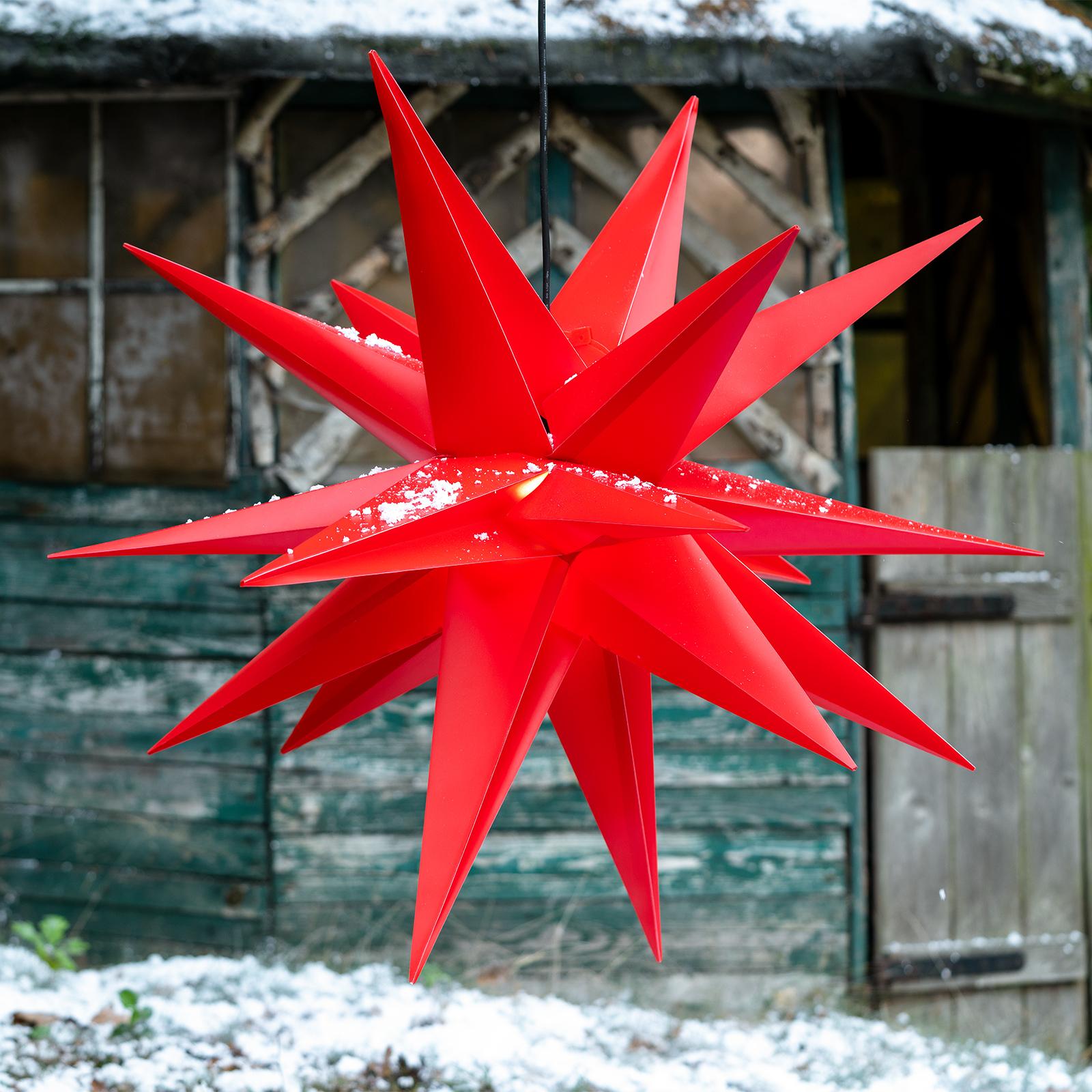 Roter Kunststoff-Stern Jumbo für außen 18 Zacken