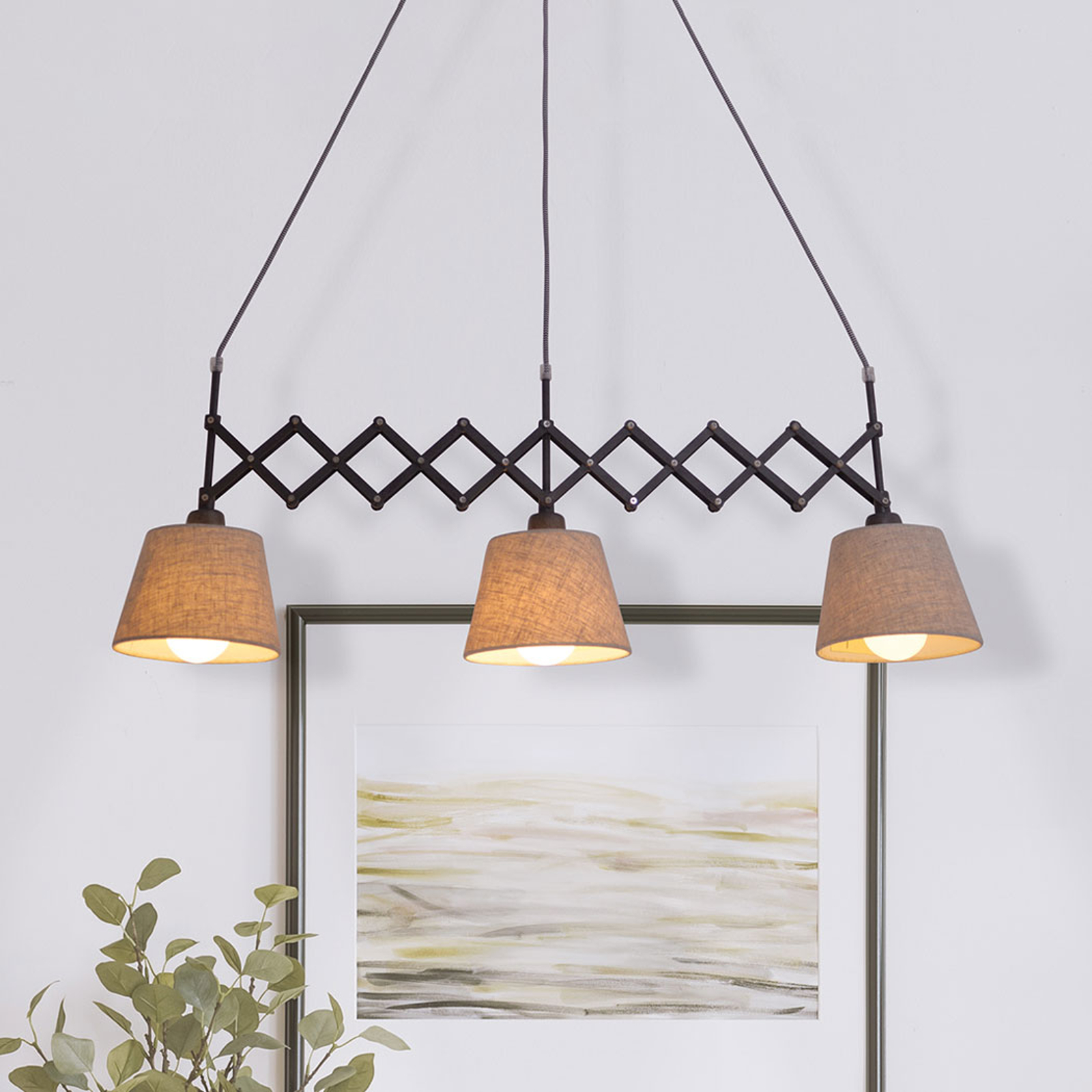 Tekstylna lampa wisząca Adrienne 3-punktowa