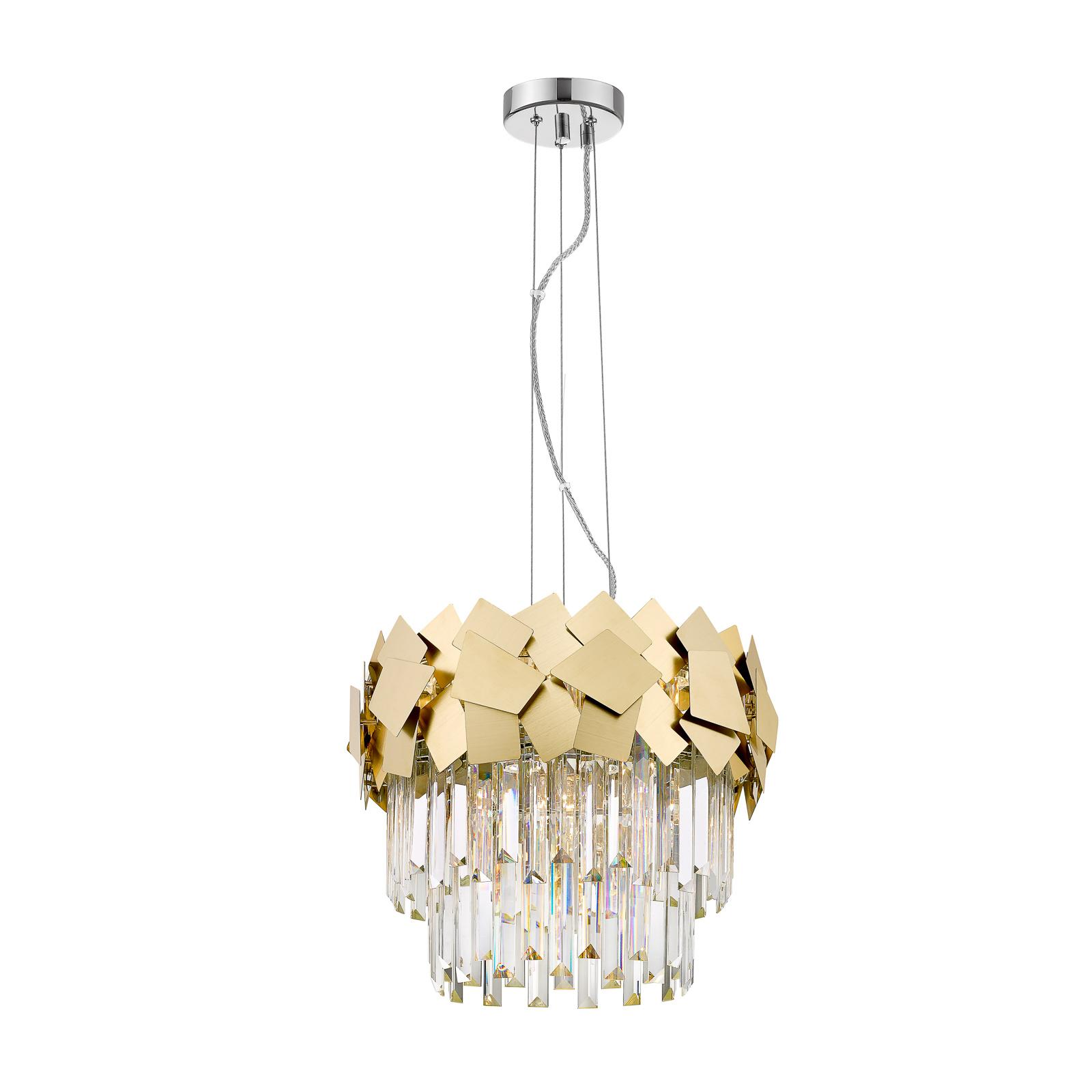 Lucande Miraia křišťálové závěsné světlo, zlatá