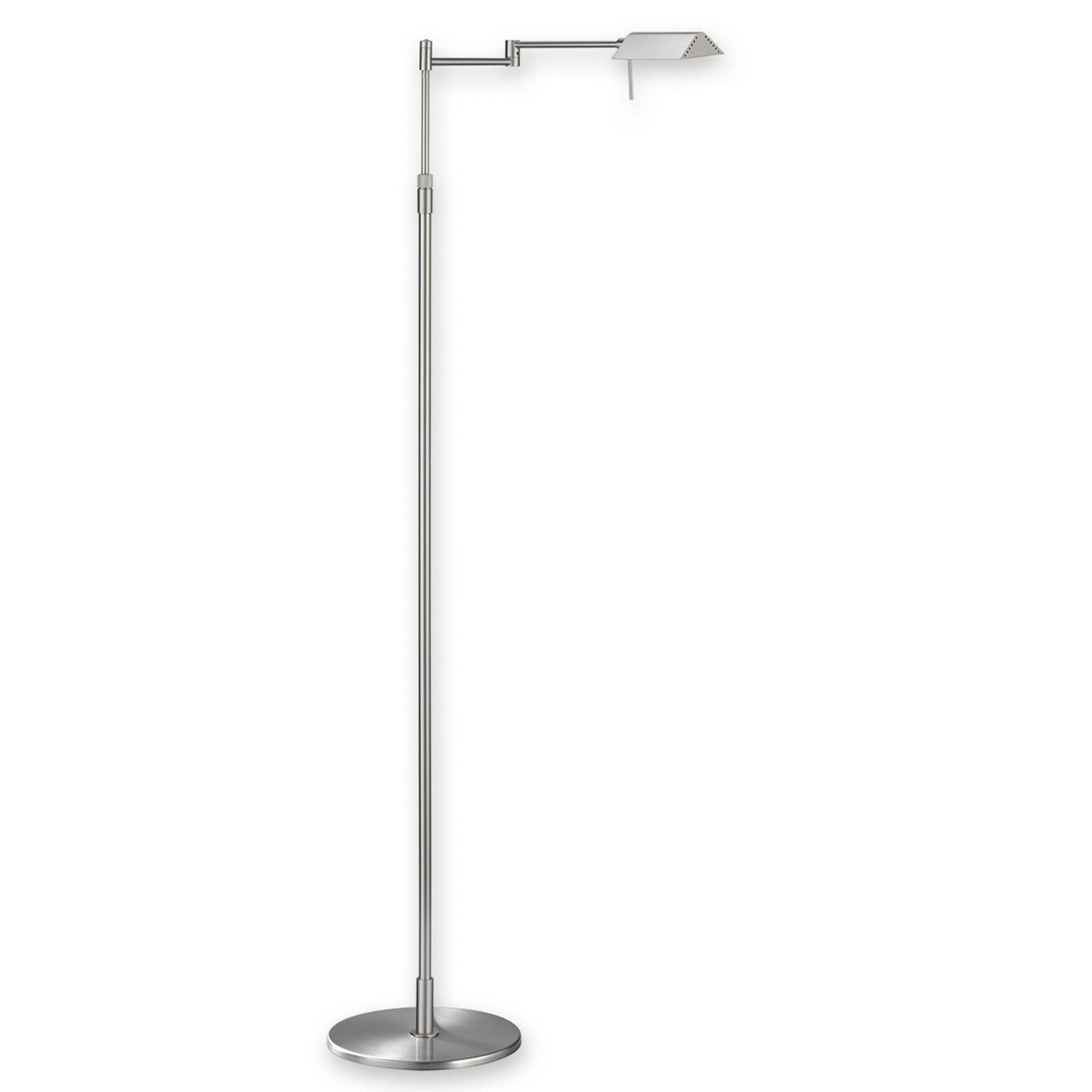 Karakteristieke LED-vloerlamp FINN, nikkel mat