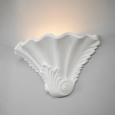 Reliefartige Gipswandlampe Lennet in Weiß