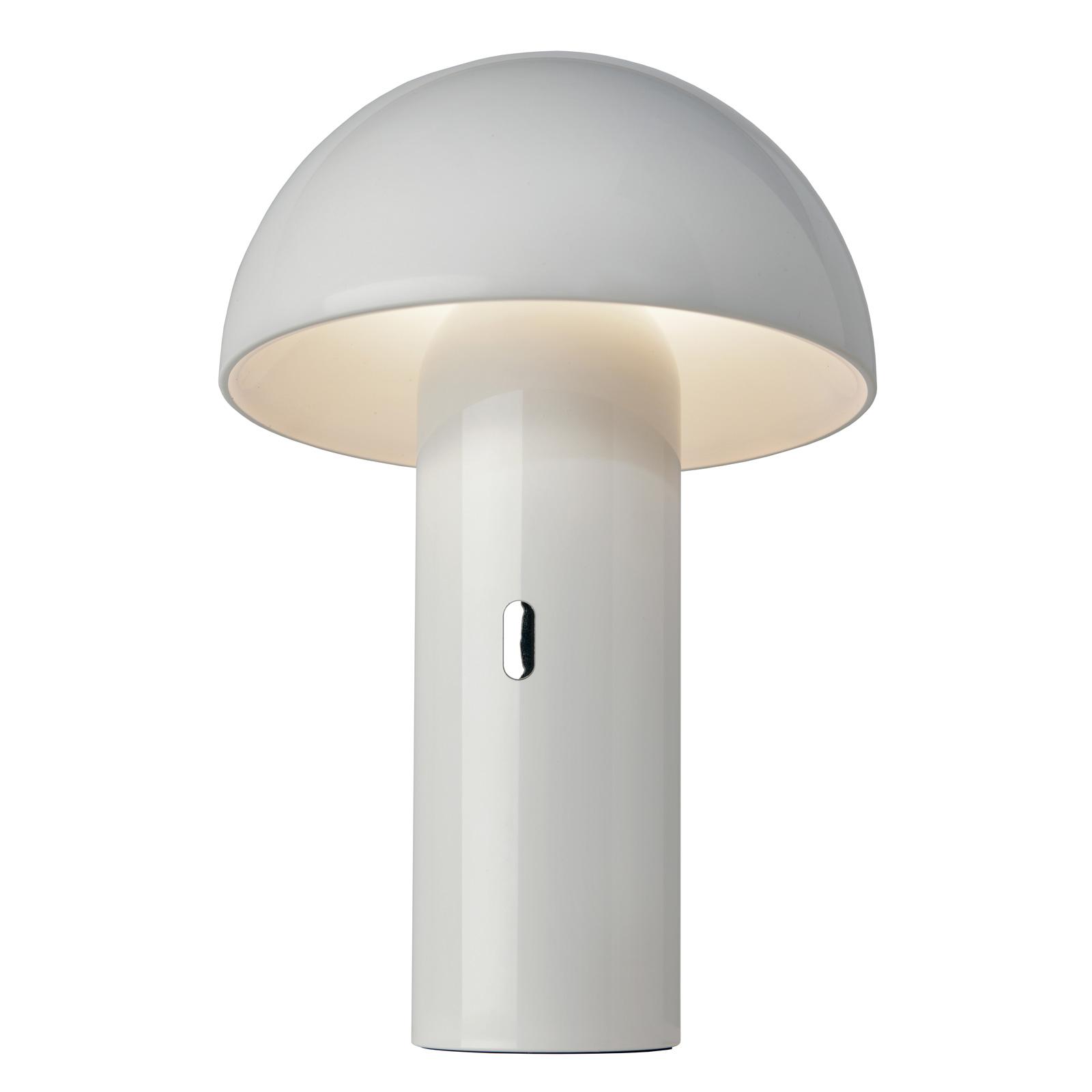 LED-bordlampe Svamp med batteri, dreibar, hvit