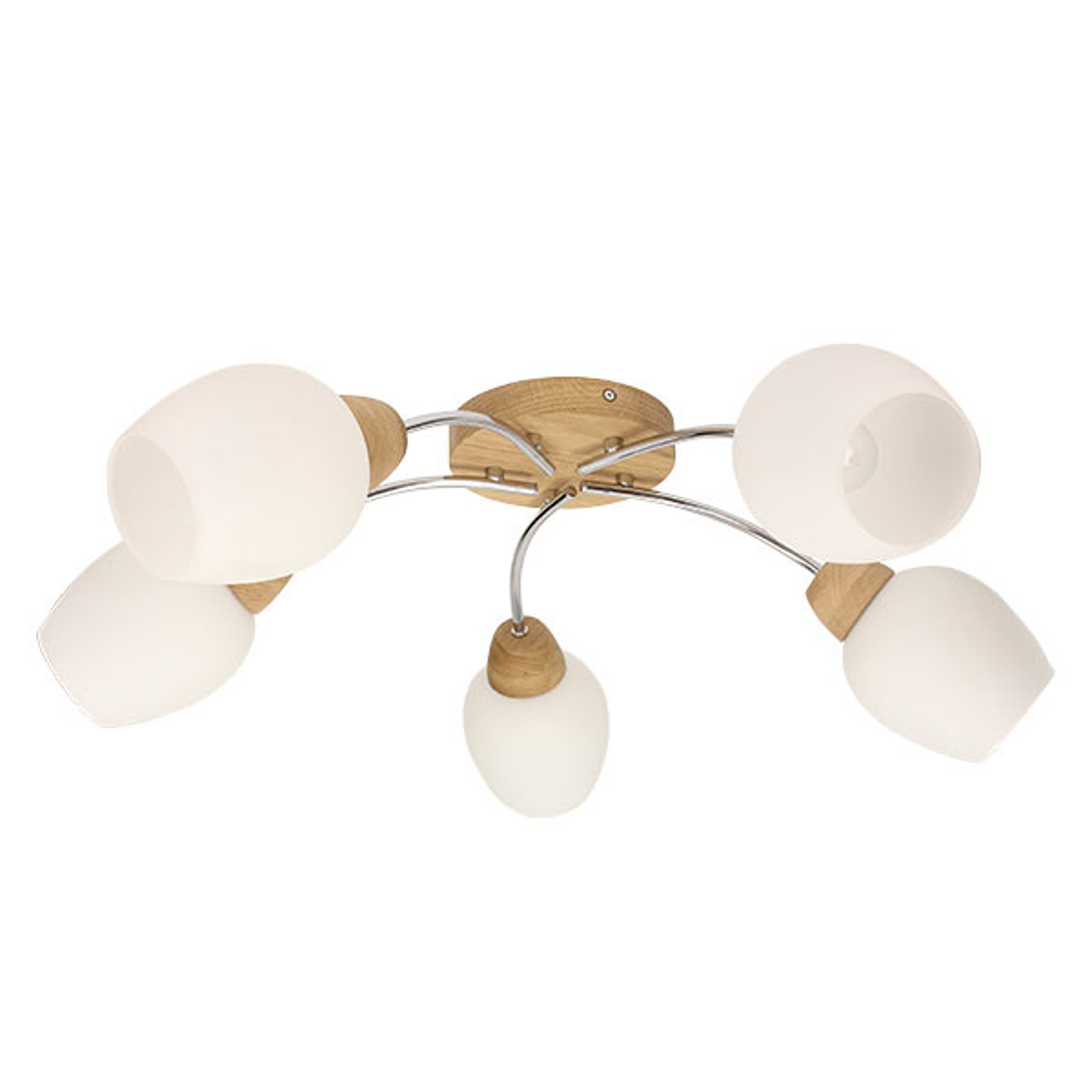 Plafoniera Santa con legno e 5 paralumi di vetro