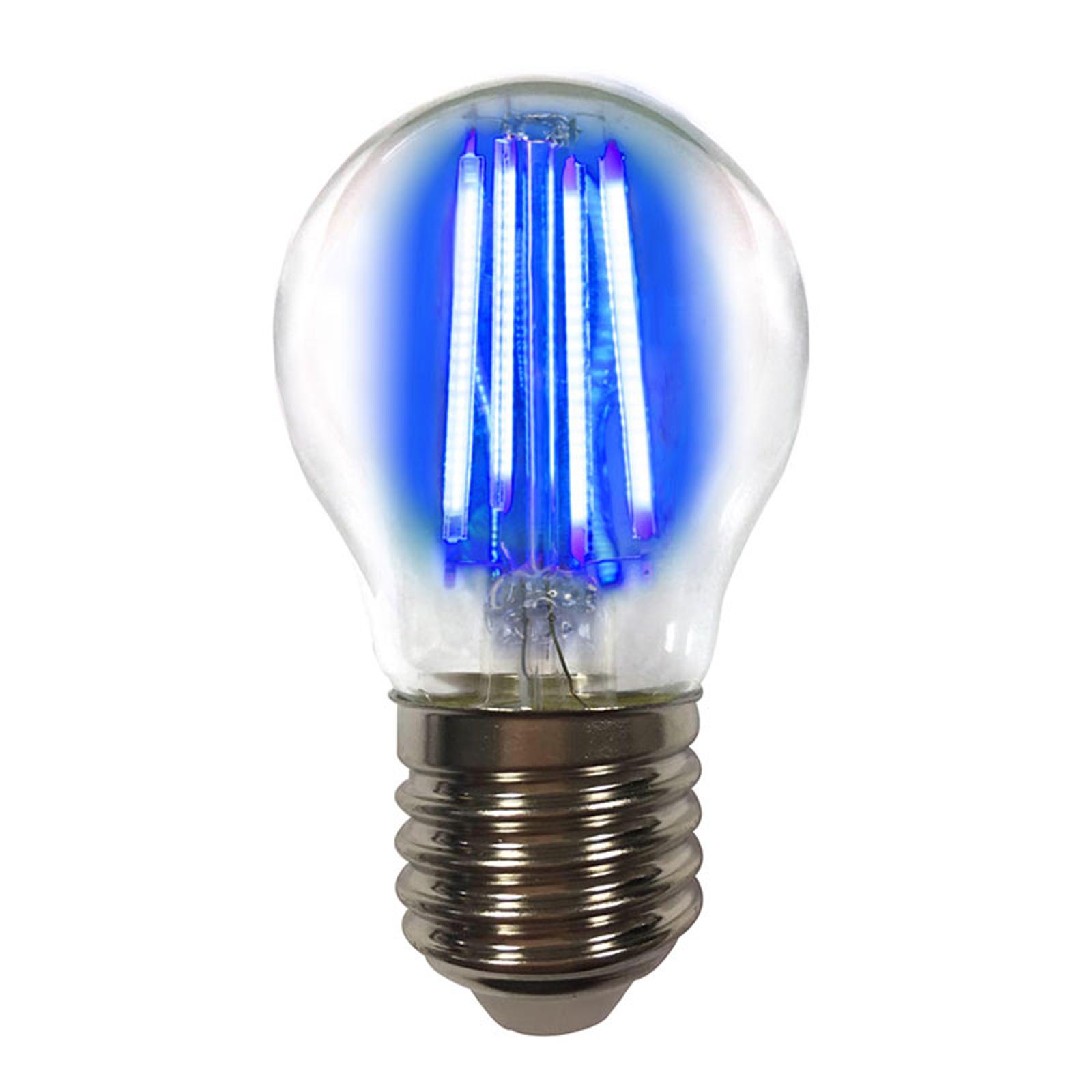 LED-pære E27 4W filament, blå, farvet lys