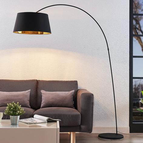 Boogvloerlamp Esti met stoffen kap, zwart-goud