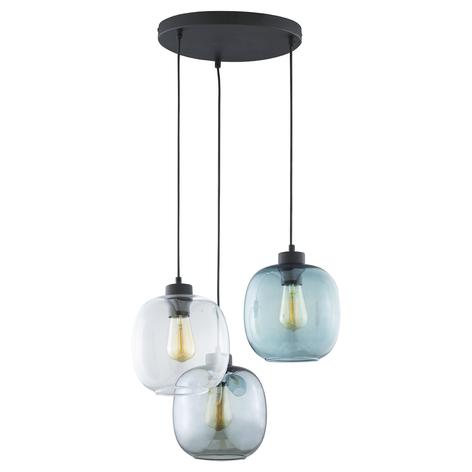 Hanglamp Elio, 3-lamps, blauw/helder/grijs