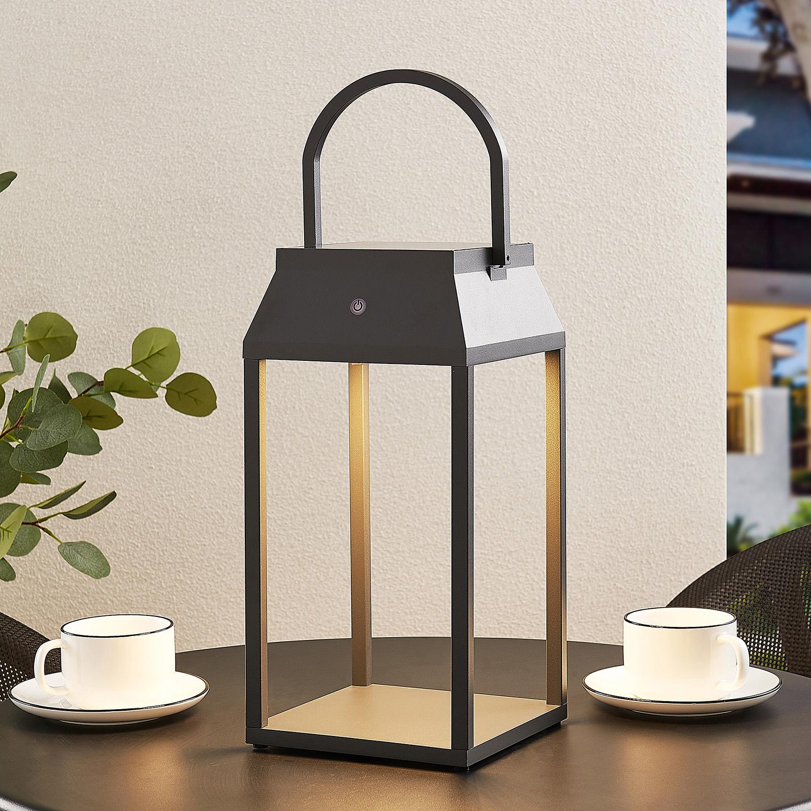 Lucande Maleos latarnia solarna LED, ściemniana