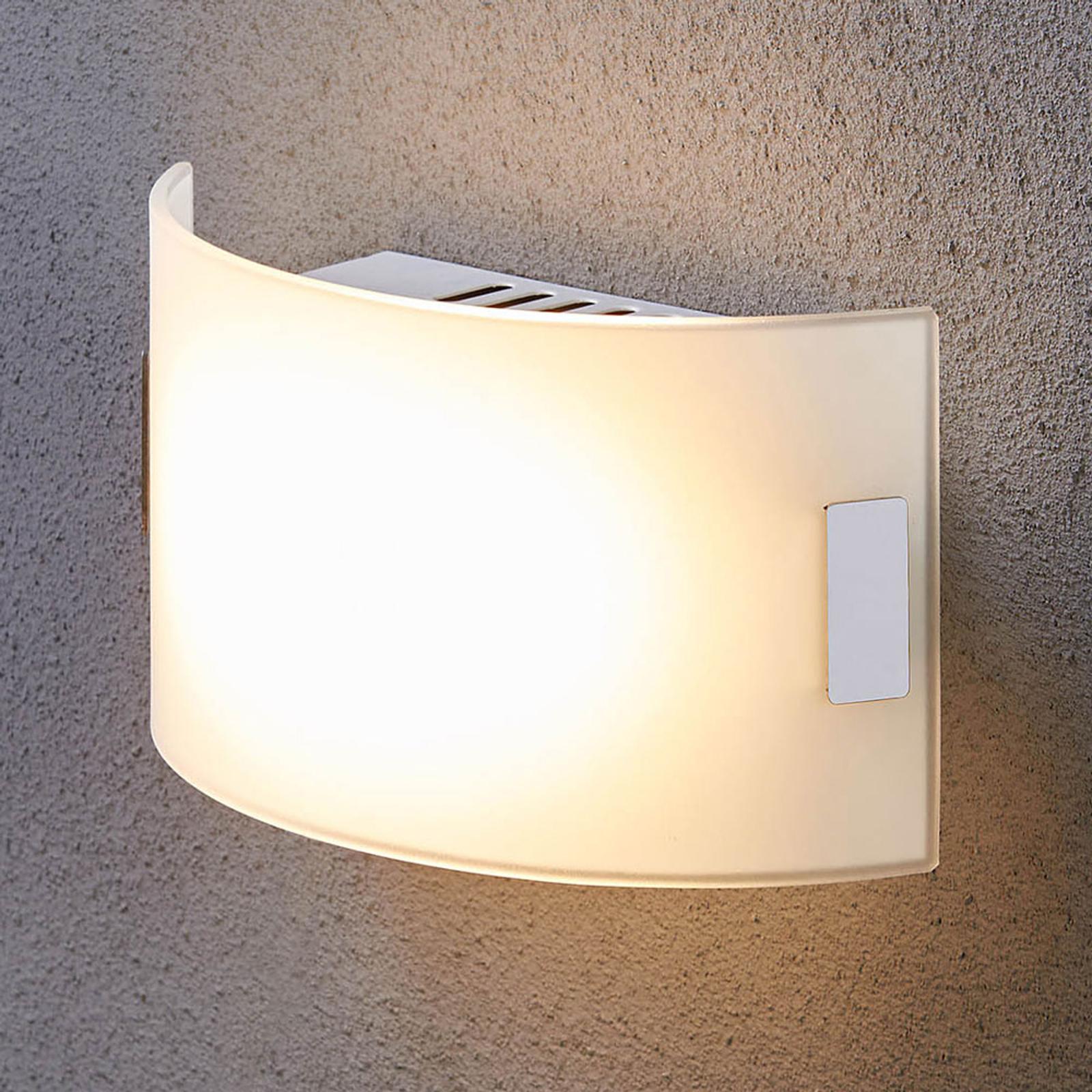 Weiße Glas-Wandleuchte Gisela mit LED-Bestückung
