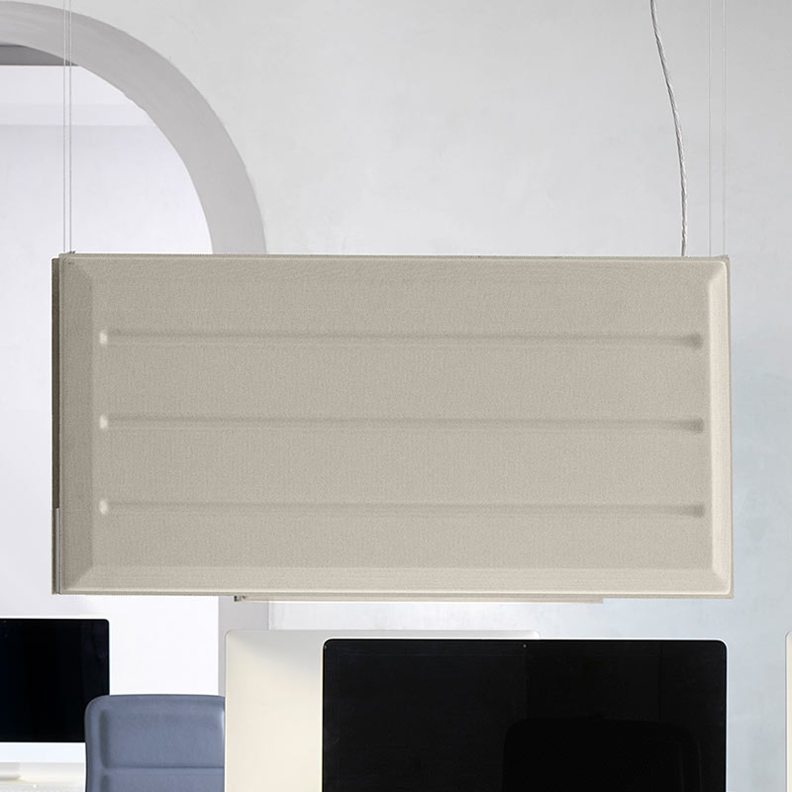 Luceplan Diade LED-hengelampe vertikal beige 120cm